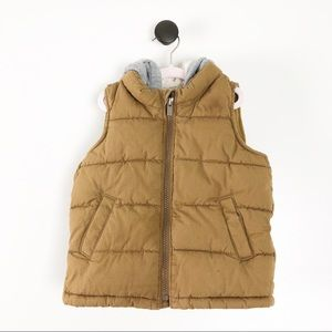 Old Navy Baby Boy Hooded Puffer Vest Brown Grey